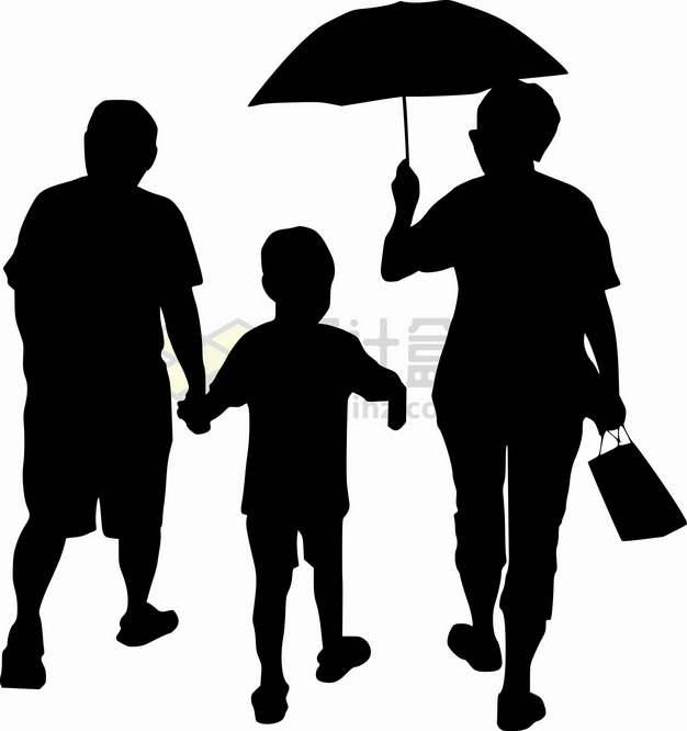 父母牵着孩子的手打着雨伞人物剪影国际家庭日png图片素材