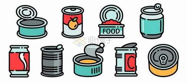 MBE风格罐头食品手绘插画png图片素材