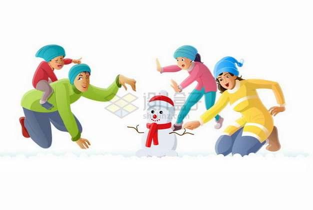 冬天里一家四口堆雪人玩耍png图片素材