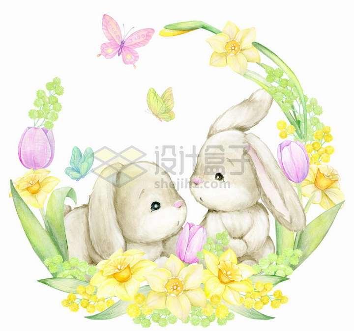 黄色紫色花环包围着的卡通小兔子水彩画彩绘png图片免抠矢量素材