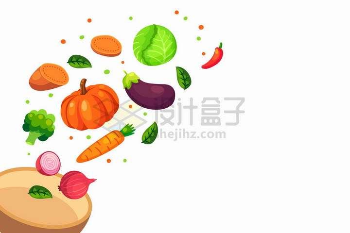 从碗里飞出的洋葱西蓝花南瓜茄子生菜辣椒等蔬菜png图片免抠矢量素材
