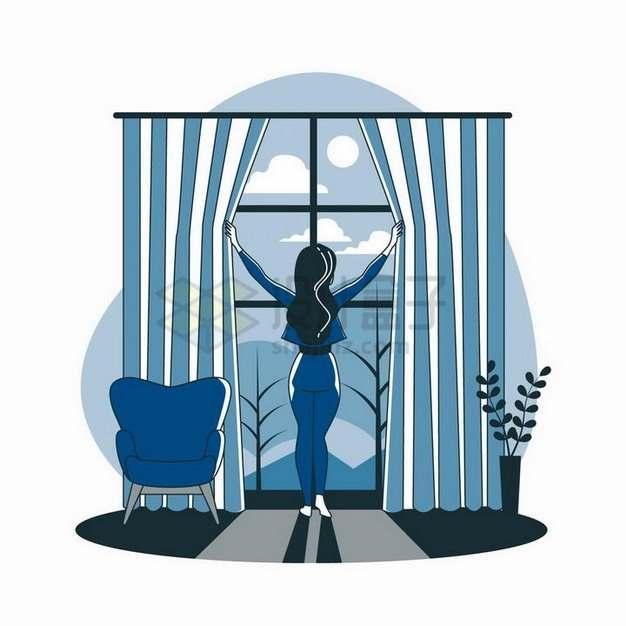 卡通美女拉开窗帘扁平插画png图片素材