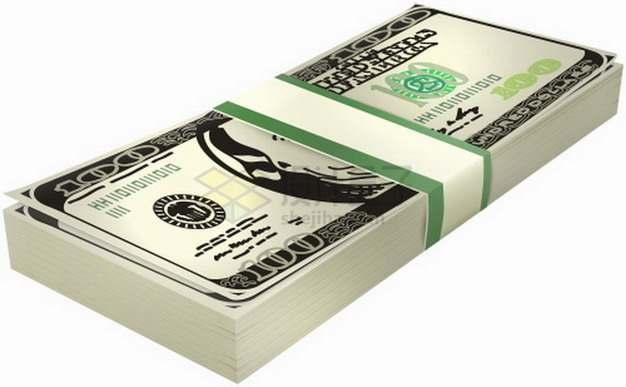 包扎好的一沓美元钞票纸币png图片素材