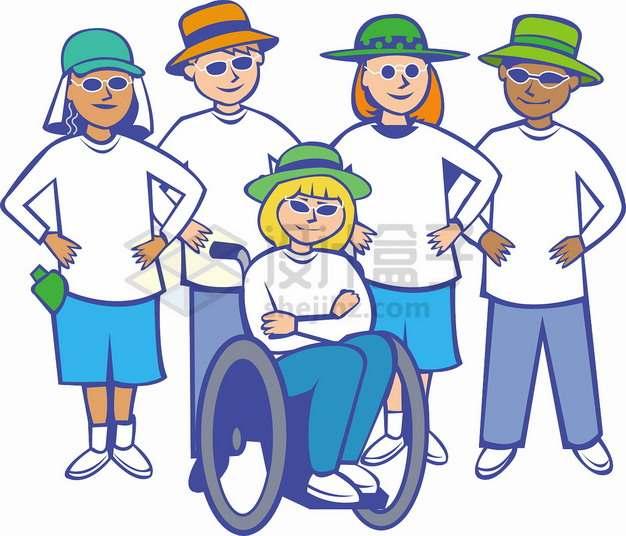 卡通人群全国助残日国际残疾人日关爱残疾人png图片素材5462437