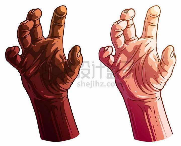 2款漫画风格手掌抓的手势png图片免抠矢量素材