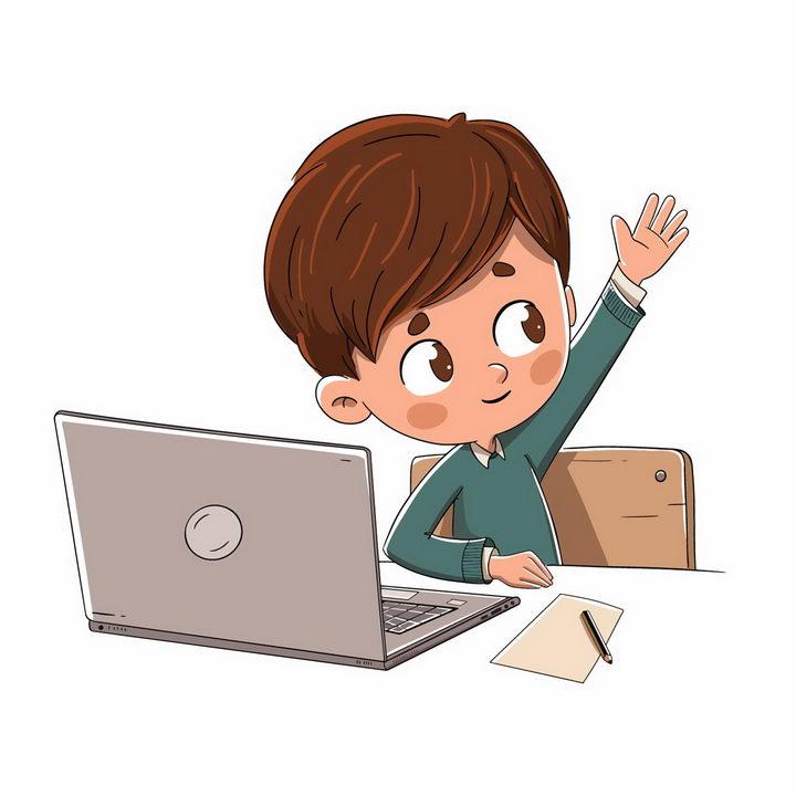 电脑面前举手回答问题的卡通小男孩png图片免抠矢量素材 教育文化-第1张