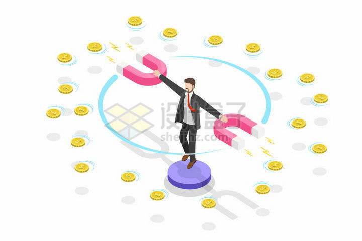 创意2.5D风格拿着磁铁的商务人士吸引周围的金币硬币象征了吸收资金png图片免抠矢量素材