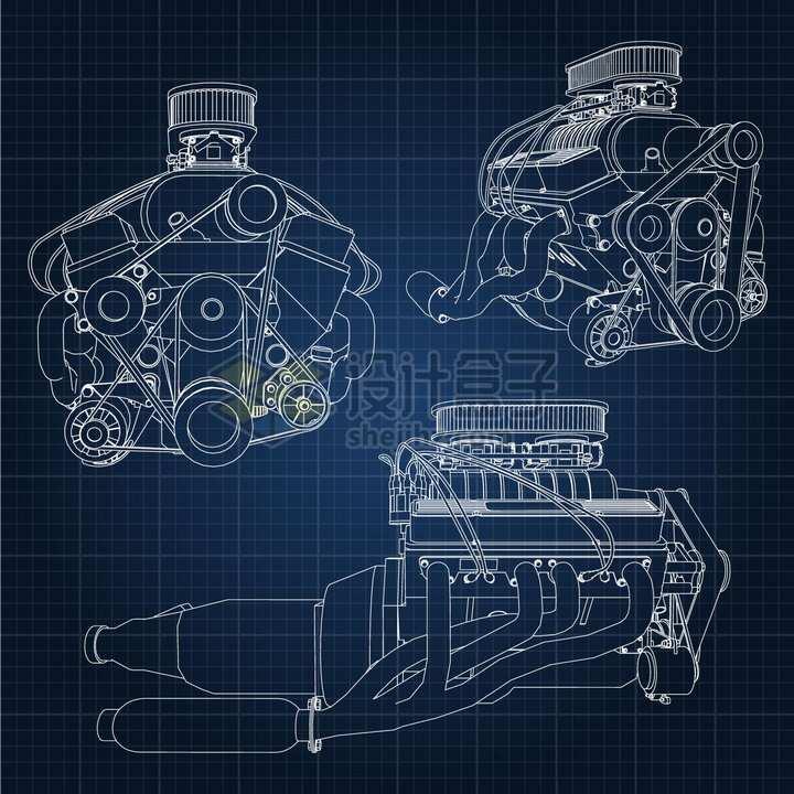 3款汽车发动机引擎手绘白色线条草图png图片素材