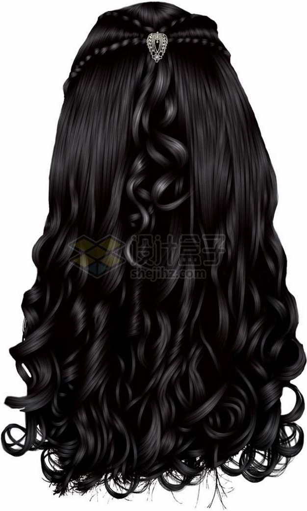 乌黑亮丽的女性卷发造型发型png免抠图片素材