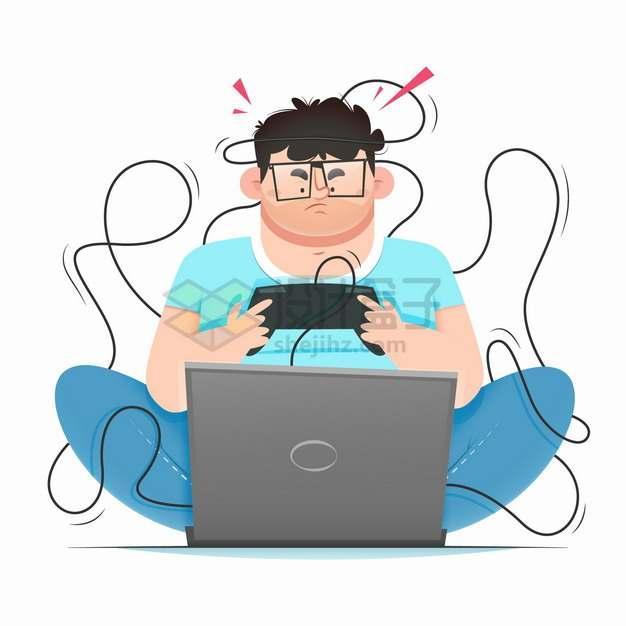 坐在地上玩电脑游戏的卡通宅男沉迷游戏png图片素材