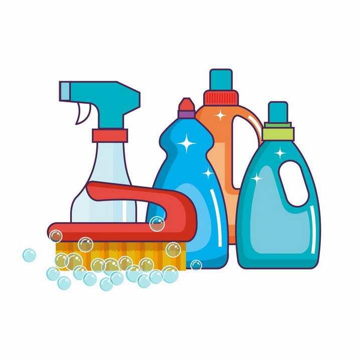各种洗涤剂刷子等卫生用品png图片免抠矢量素材