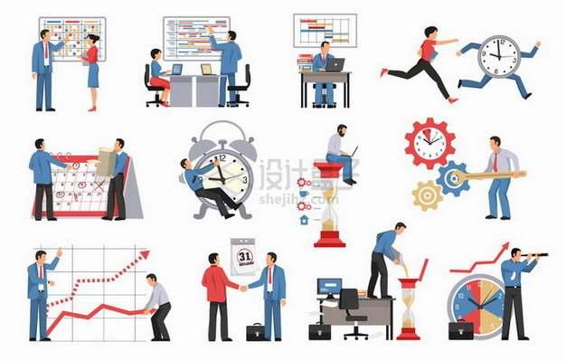 企业商务人士正在制定各种日程安排和工作计划png图片素材