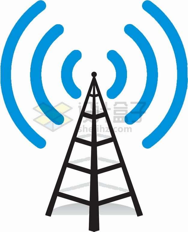 发出无线信号的通信塔简笔画png图片素材