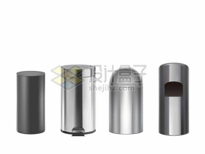 4款不锈钢垃圾桶png图片素材