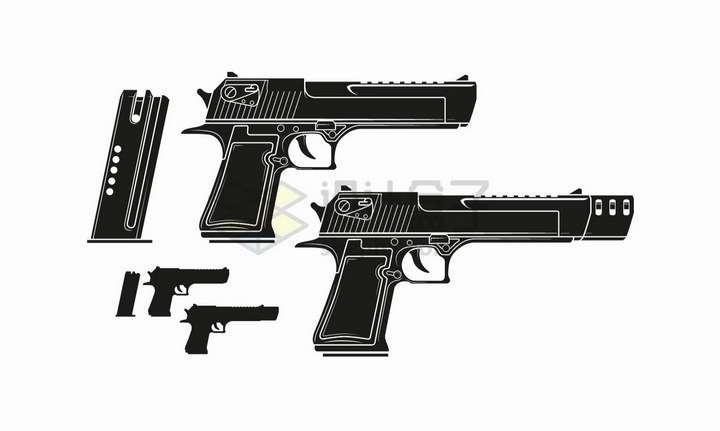 2把白色线条手枪剪影和弹夹png图片免抠矢量素材