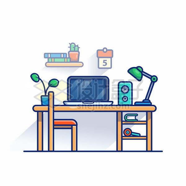 MBE风格木头桌子上的笔记本电脑音箱和台灯png图片免抠矢量素材
