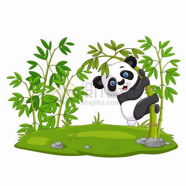草地竹林中的卡通熊猫png图片免抠矢量素材