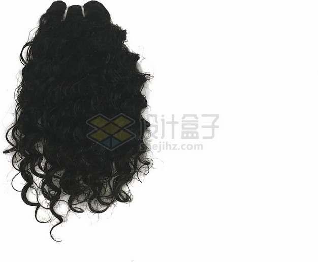 女性黑色卷发造型发型png免抠图片素材