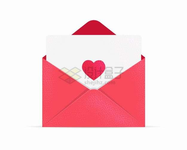 打开的红色信封中红心信件情人节png图片素材