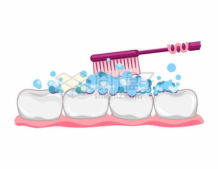 牙刷正在给牙齿刷牙png图片免抠矢量素材
