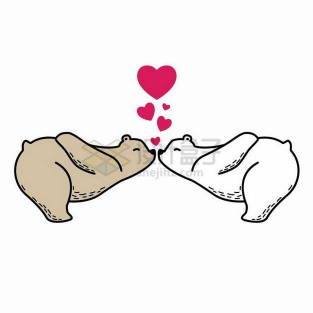 亲吻的卡通白熊和棕熊情人节png图片免抠矢量素材
