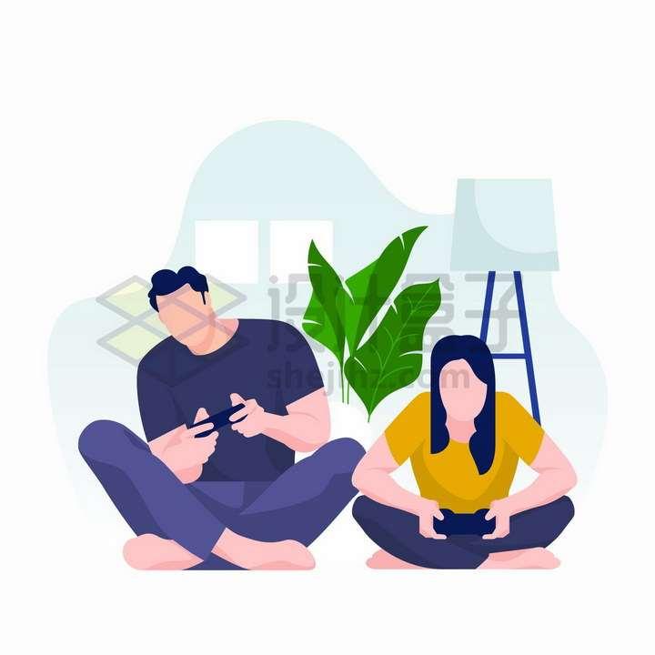 宅在家中坐地上玩手机游戏的情侣扁平插画png图片免抠矢量素材