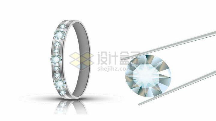 镊子夹起钻石和钻戒png图片免抠矢量素材