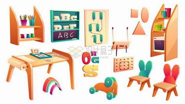 各种卡通书架玩具等幼儿园设施png图片免抠矢量素材