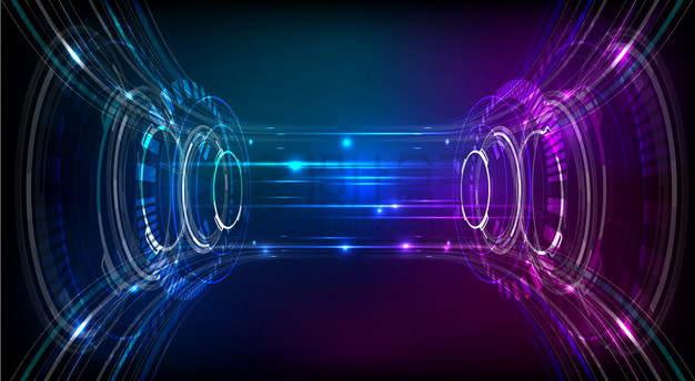 蓝色红色光线组成的虫洞量子传送装置抽象背景png图片素材