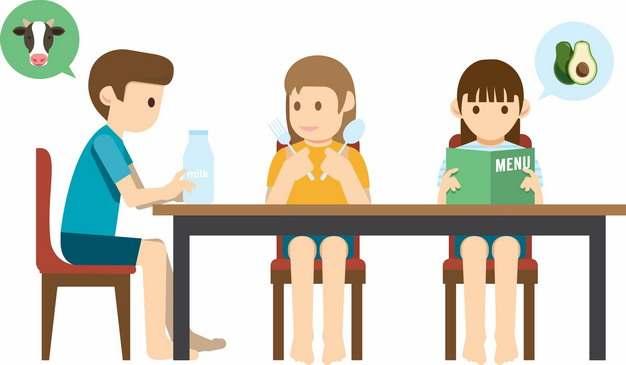 卡通学生在学校食堂准备吃饭png图片素材