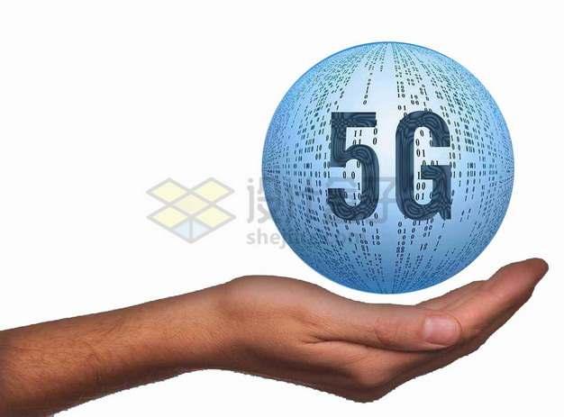 一只手托起的5G技术圆球png图片素材
