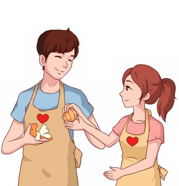 给女朋友剥橘子的卡通男孩情侣png图片素材