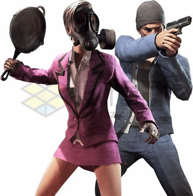 拿着平底锅和手枪的绝地求生大逃杀吃鸡游戏png图片素材