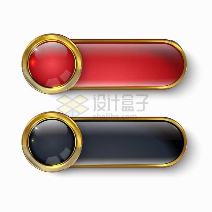 金色边框红色黑色玻璃水晶按钮png图片素材