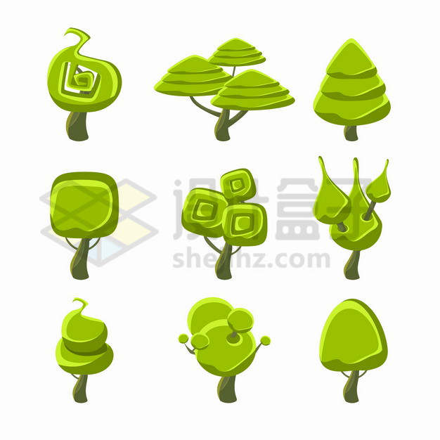 9款卡通绿树大树241672png图片素材