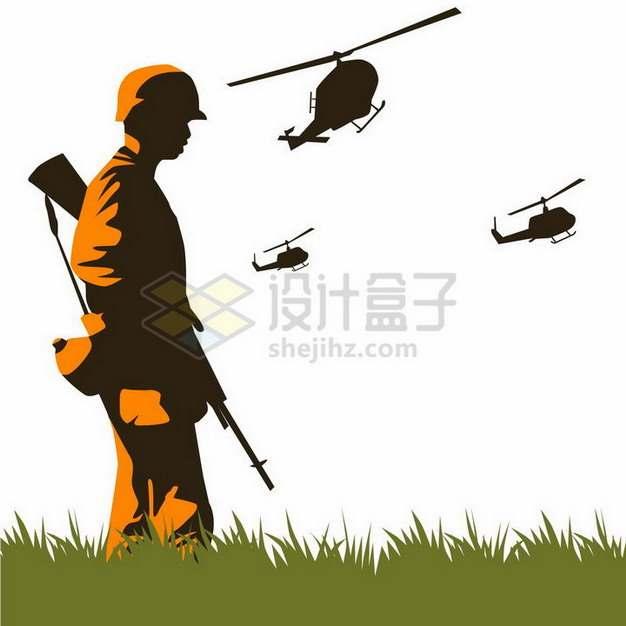 越南战争越战期间的美军剪影插图png图片免抠矢量素材