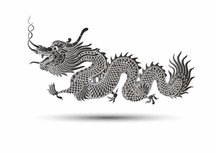 黑色手绘风格五爪龙中国龙图案png图片免抠矢量素材