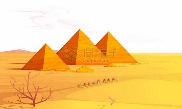 沙漠中的埃及金字塔风景png图片免抠矢量素材