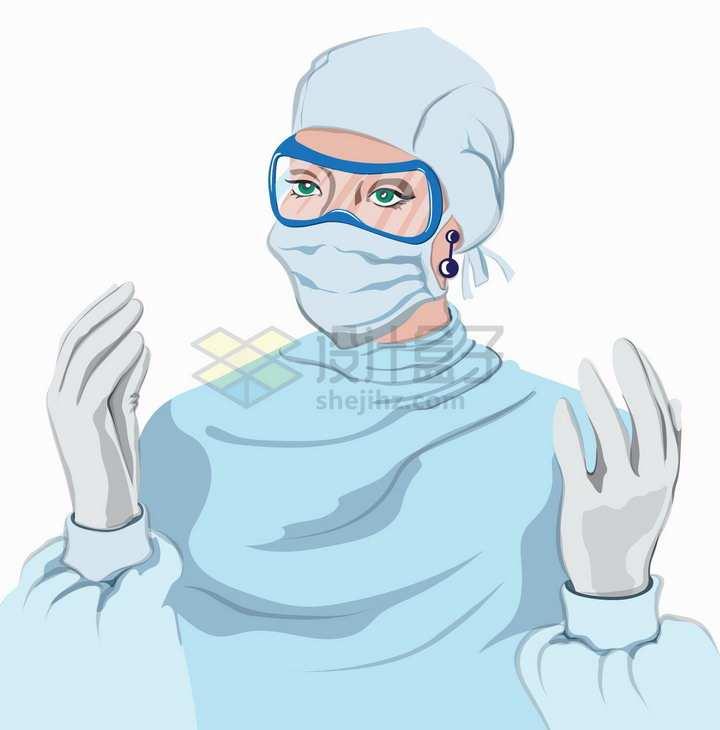 戴着护目镜口罩和防护服的医生扁平插画png图片素材