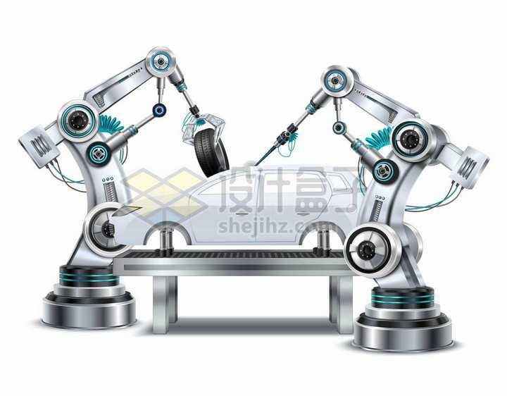 两个金属银色的机械手臂正在组装一台汽车工厂生产流水线png图片素材