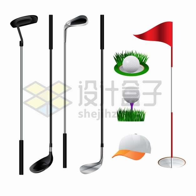 4款高尔夫球杆球座棒球帽和旗杆等体育运动png图片素材