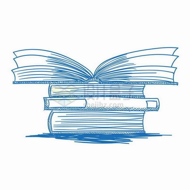 蓝色线条手绘风格堆放在一起的书本书籍png图片免抠矢量素材