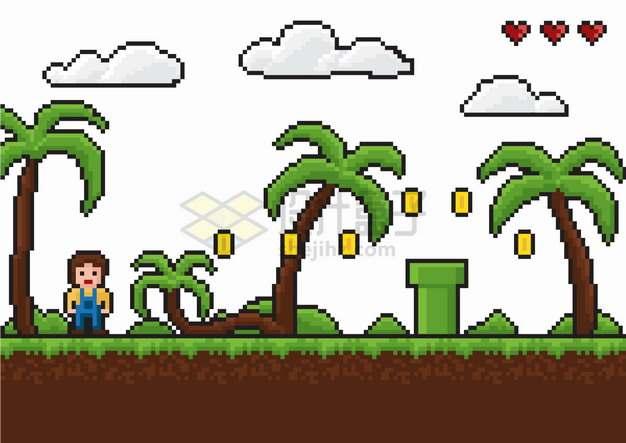 像素风格8位复古游戏热带海岛吃金币png图片素材