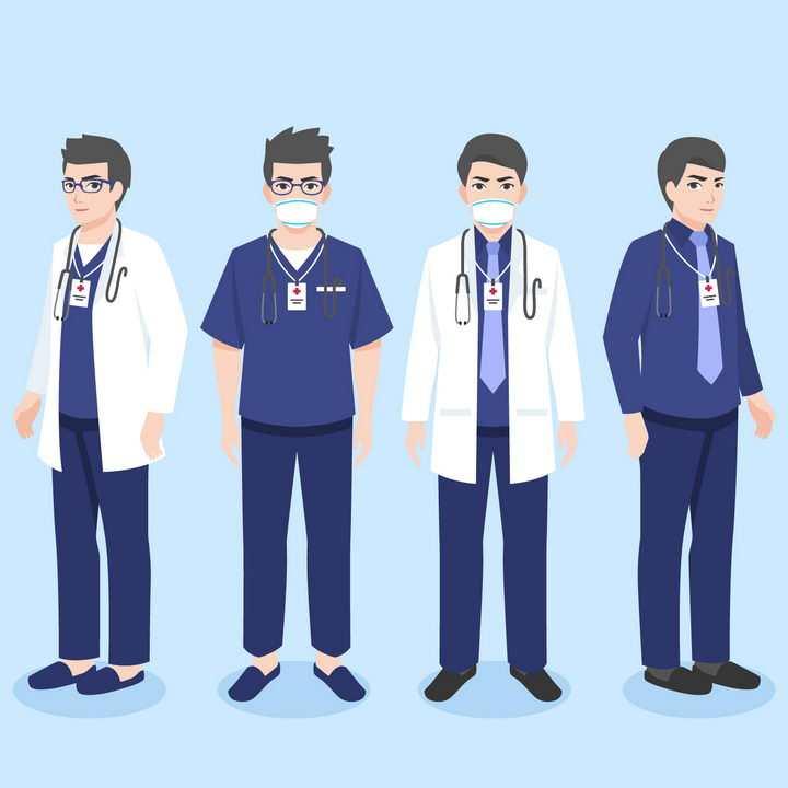 4款戴口罩的卡通男医生医护人员png图片免抠矢量素材
