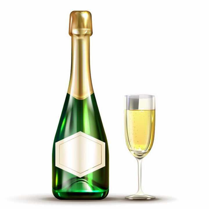 还没拆封的香槟酒瓶和高脚酒杯png图片免抠矢量素材