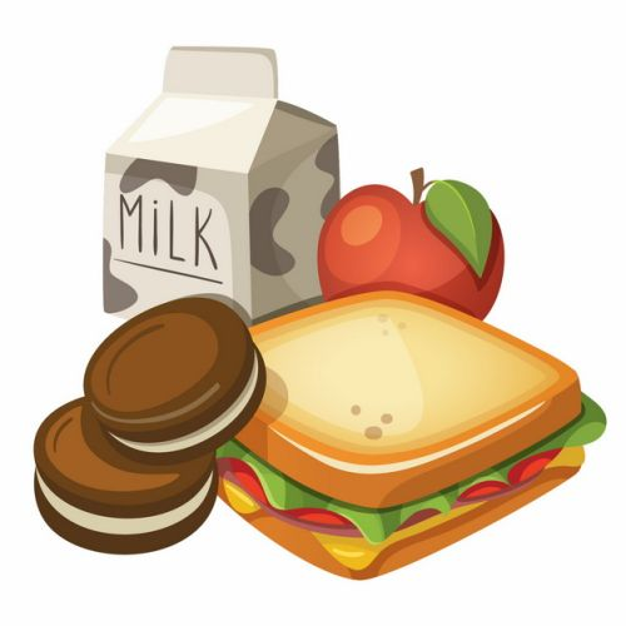 牛奶苹果三明治等健康营养的学生早餐png图片素材