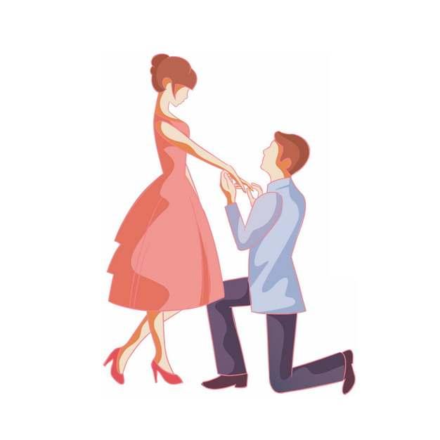 卡通男子单膝下跪向女友求婚png图片素材