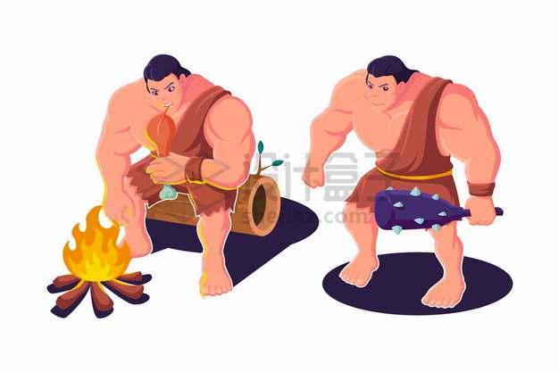 卡通原始人穴居人正在用篝火烤肉吃和拿着狼牙棒png图片素材