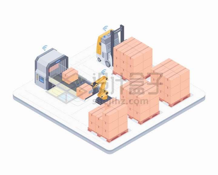 仓库存储传送带过安检和自动叉车正在搬运货物png图片免抠矢量素材