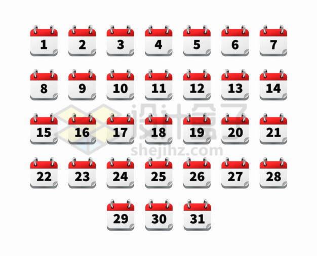 每月31天日历图标符号png图片素材